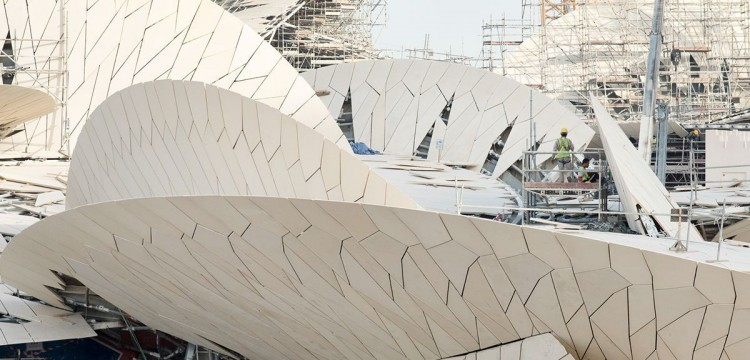 Chantier du National Museum of Qatar - architecte Jean Nouvel. Doha, Qatar, mai 2015.